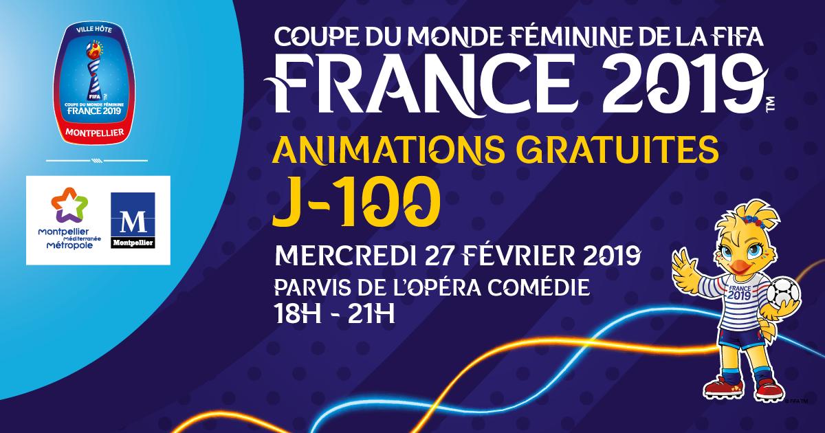 Visuel J-100 avec les logos officiels FIFA, Ville et Métropole et la mascotte Ettie