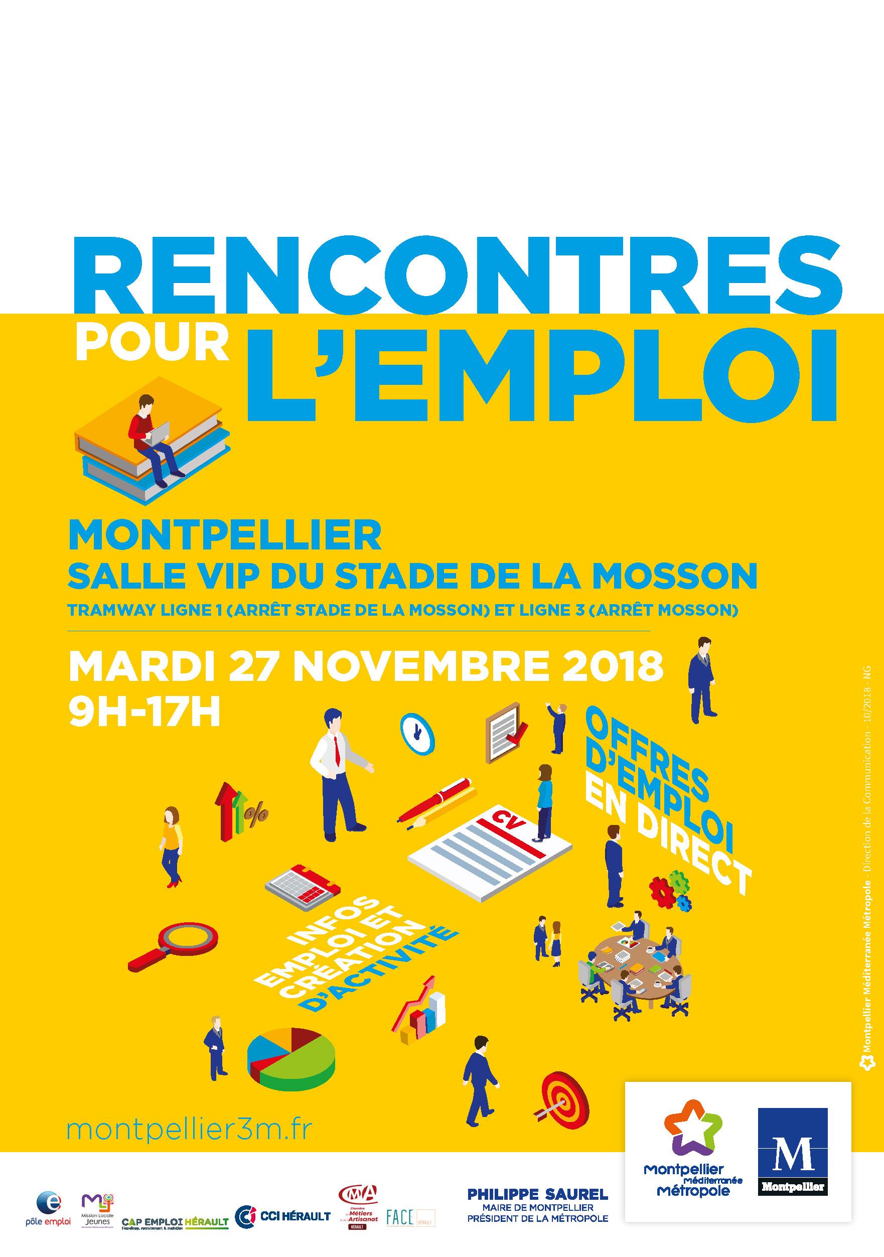Rencontres pour l'emploi 2018 - Montpellier salle VIP du stade de la Mosson Mardi 27 Novembre de 9h à 17h