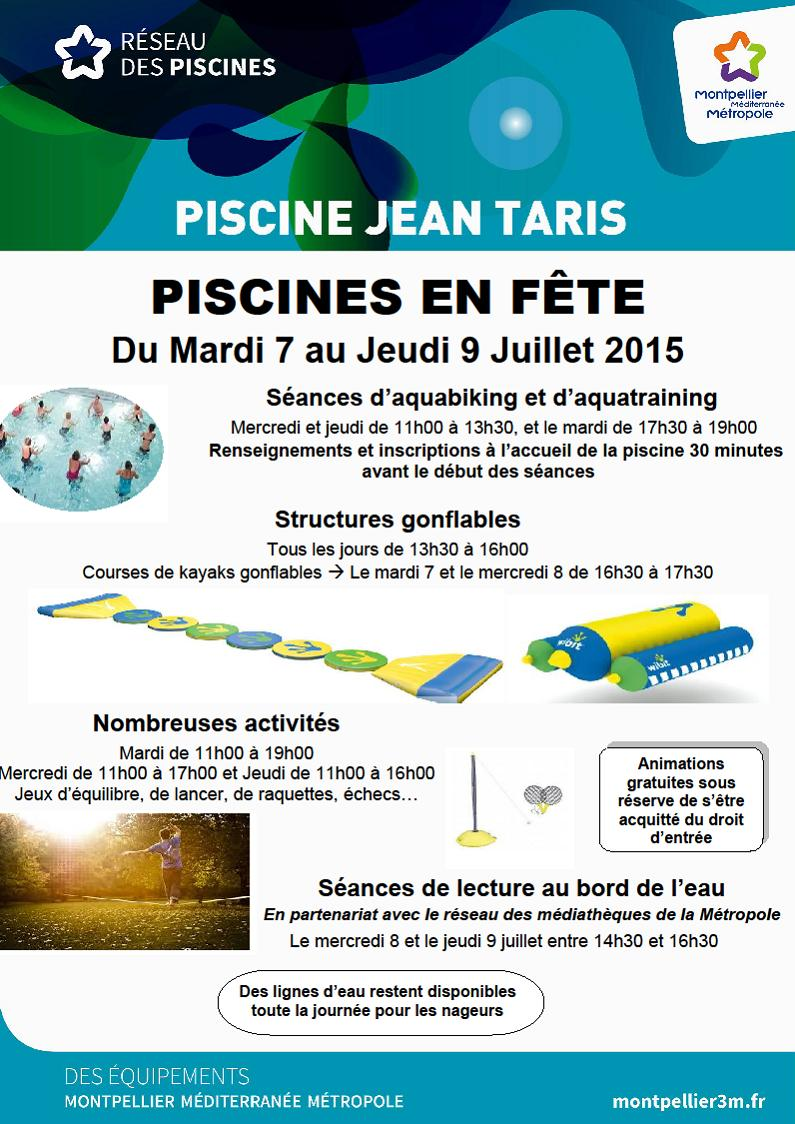Piscines en f te 2015 piscine taris montpellier for Piscine jean taris