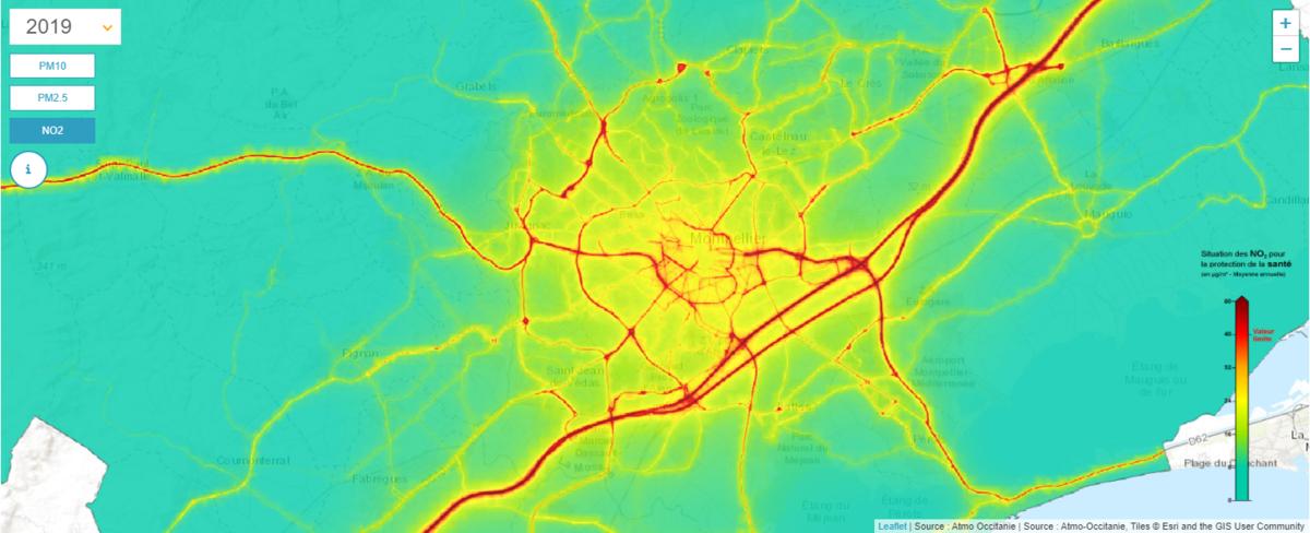 Carte de la pollution au NO2 sur la métropole
