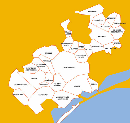 31 communes montpellier m diterran e m tropole for Alentours montpellier