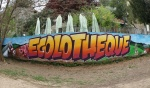 Fresque réalisée par les enfants de l'Ecolothèque de Montpellier Agglomération avec l'artiste MAYE