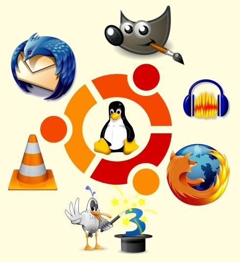 Logos de certains logiciels libres (Thunderbird, Gimp, Audacity, VLC, Firefox)