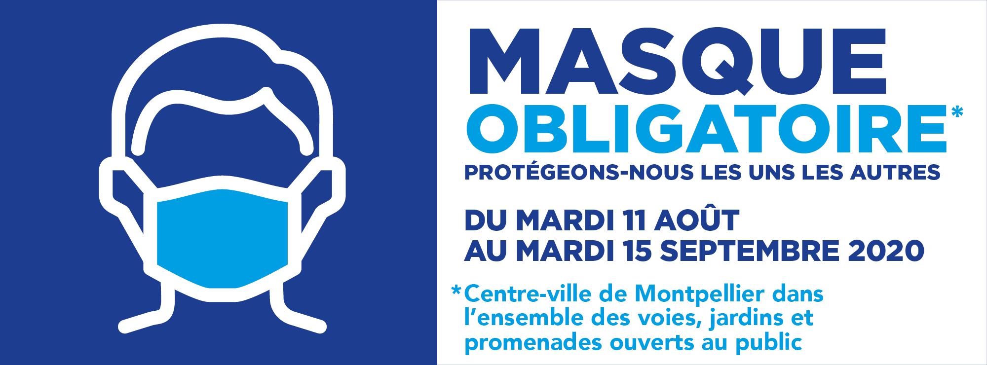 Port du masque obligatoire du mardi 11 aout au mardi 15 septembre dans le centre ville de Montpellier et dans les allées d'Odysseum.