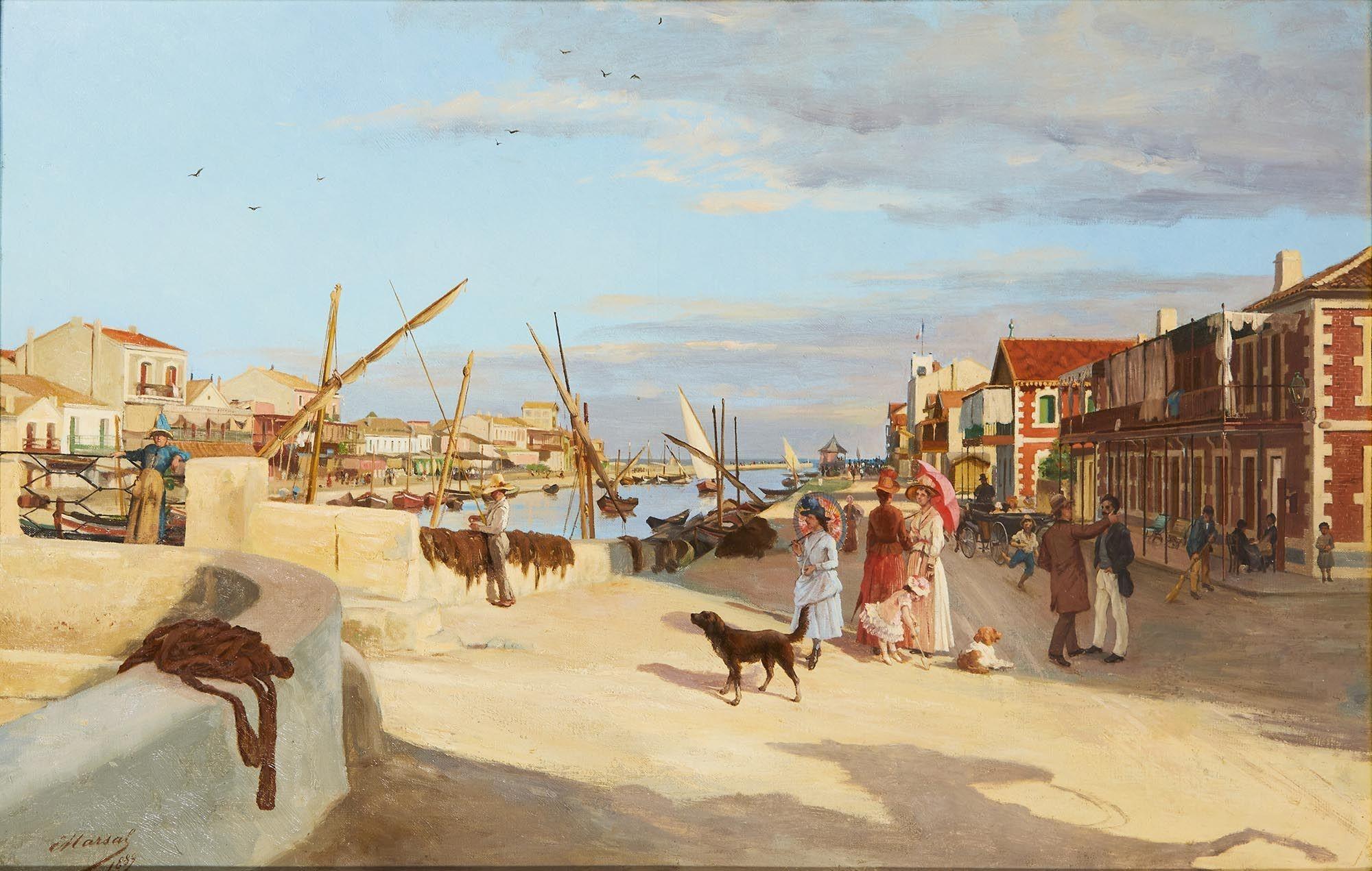 Edouard-Antoine MARSAL (1845-1929) ; Palavas-les-Flots (1889) ; Huile sur toile ; H. 55 cm - L. 100 cm